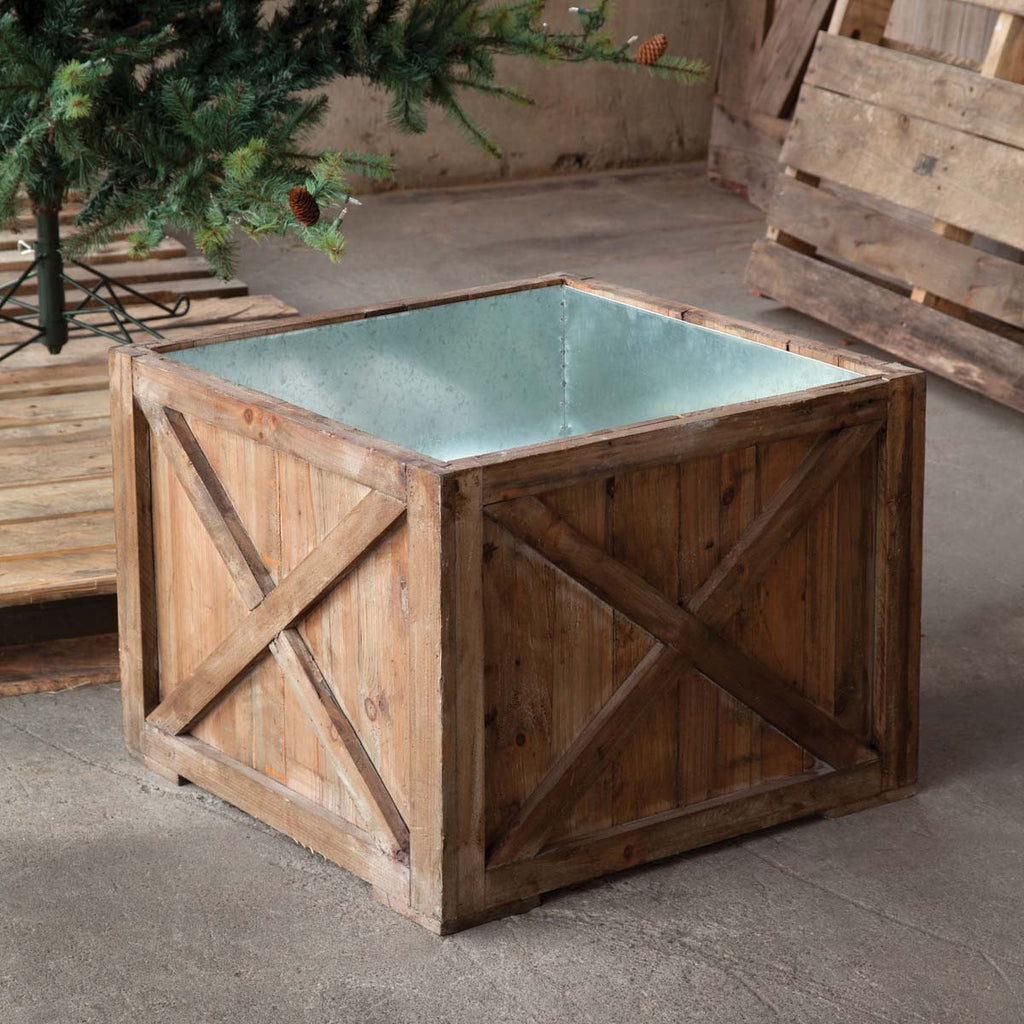 """For a straight from the tree farm look - conceal your Christmas tree stand with this rustic style box. Fully lined with tin, it has a raised bottom to give the tree an additional 6"""" height."""