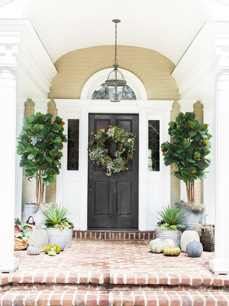 Black Front Door With Gorgeous Succulent Plant Living Wreath by Colonial House of Flowers, Atlanta, Georgia