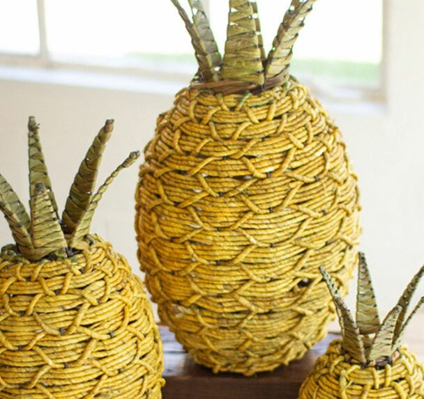 Yellow and Green Seagrass Pineapple Home Decor by Colonial House of Flowers in Atlanta, Georgia