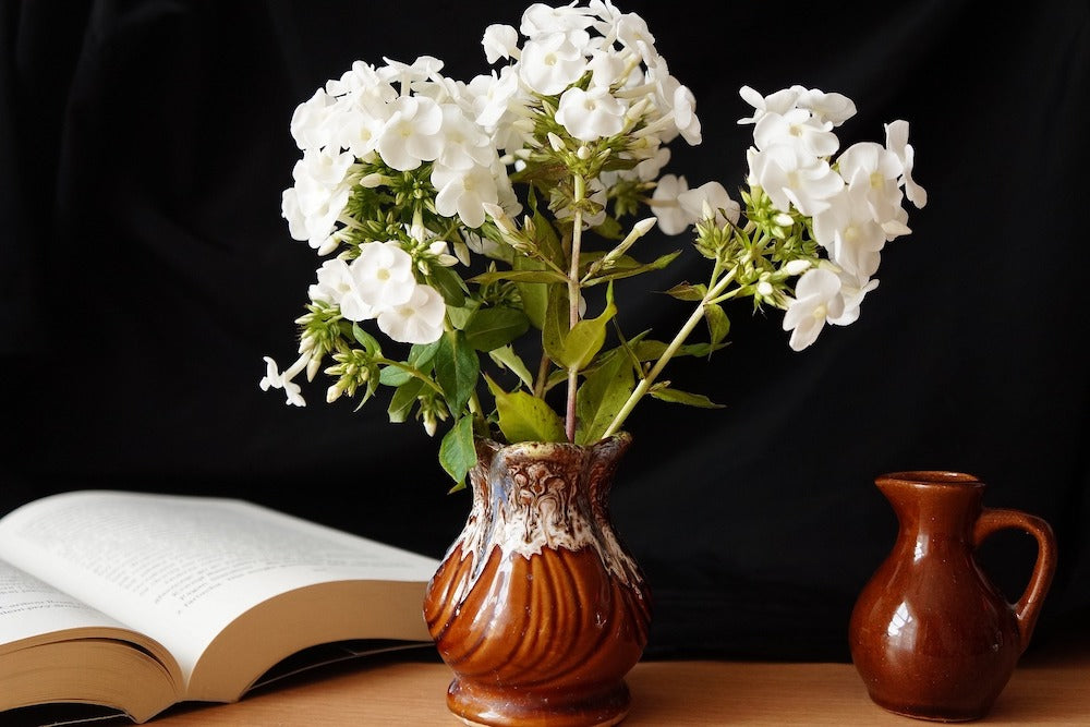 White+Phlox+Brown+Vase+For+Florist+Home+Decor+By+Colonial+House+of+Flowers