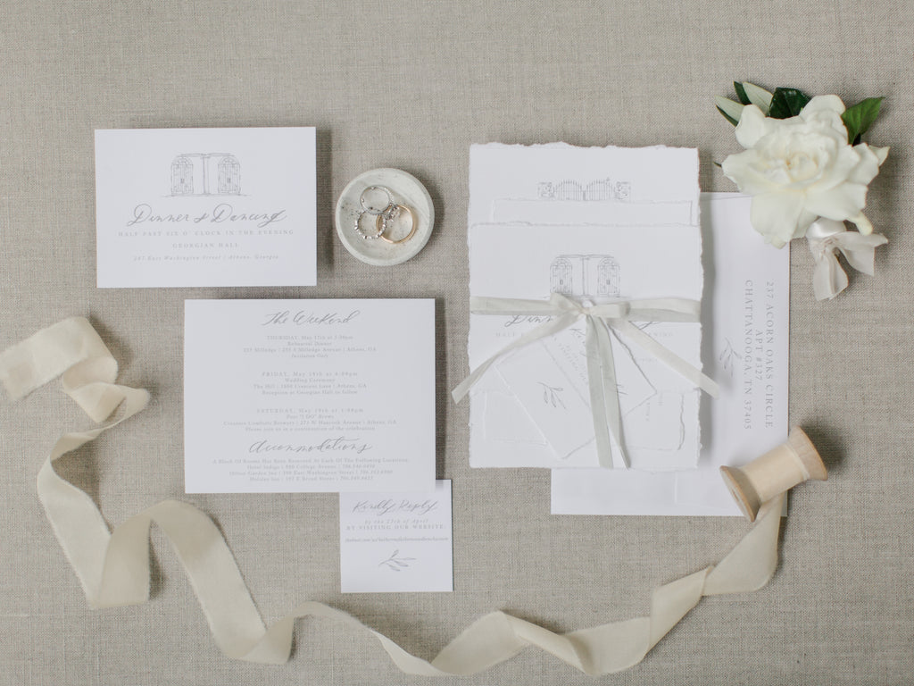 Luxury World Wide Floral Design by Colonial House of Flowers, Atlanta Georgia Florist | Gardenia with invitations and silk ribbon
