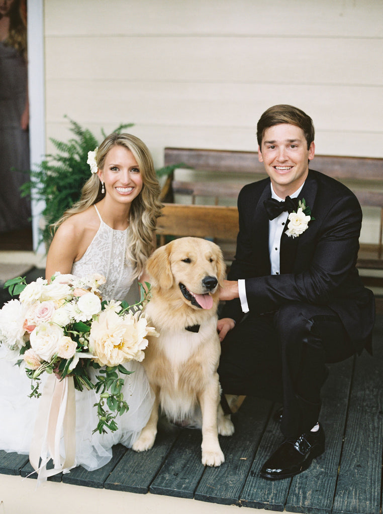 Luxury Garden Flower Wedding by Atlanta Georgia florist Christy Hulsey with Colonial House of Flowers  | Peony, Garden Rose, Blush, White Olive  with dog