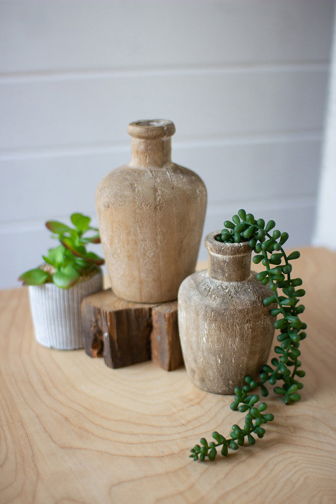 Wood Vases With Succulent Home Decoration by Colonial House of Flowers in Atlanta, Georgia