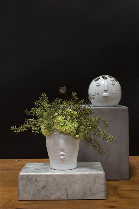 Large And Small White Picasso Bud Vase With Greenery