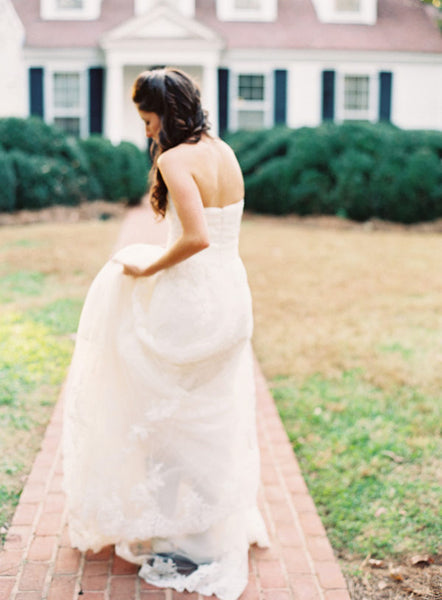 pronovias wedding gown + colonial house of flowers + florist Meadowlark gardens Atlanta Georgia