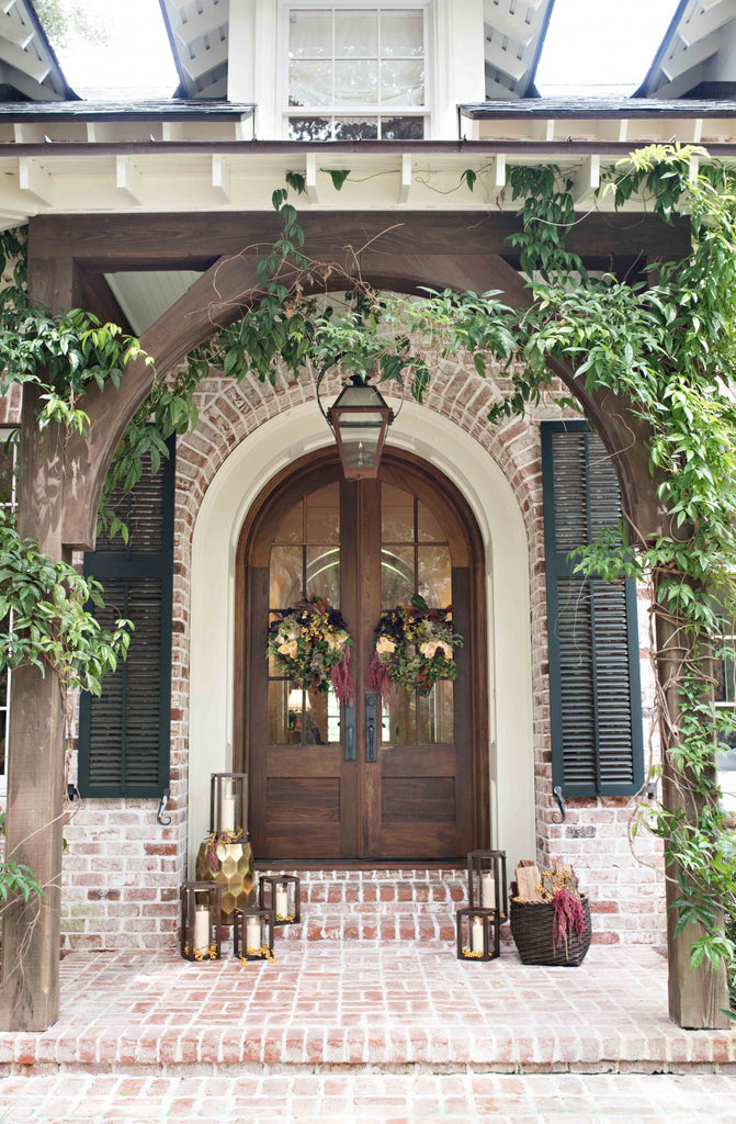 Fabulous Southern Front Door With Flower Wreath by Colonial House of Flowers