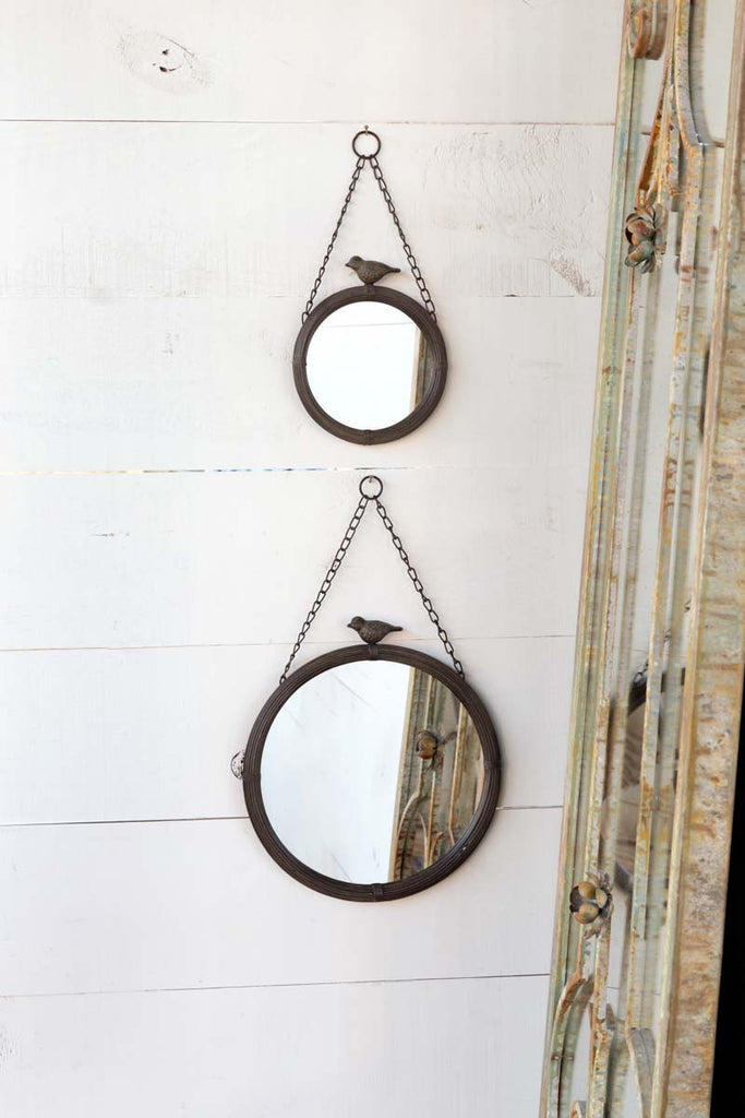 Hanging Rubbed Bronze Finished Mirror With Vintage Bird Garden Decor by Colonial House of Flowers in Atlanta, Georgia