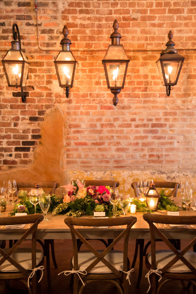 lanterns over a dinner table