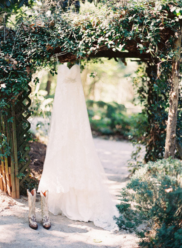Meadowlark Gardens Outside Wedding Atlanta, Georgia + Colonial House of Flowers + Gown + Boots