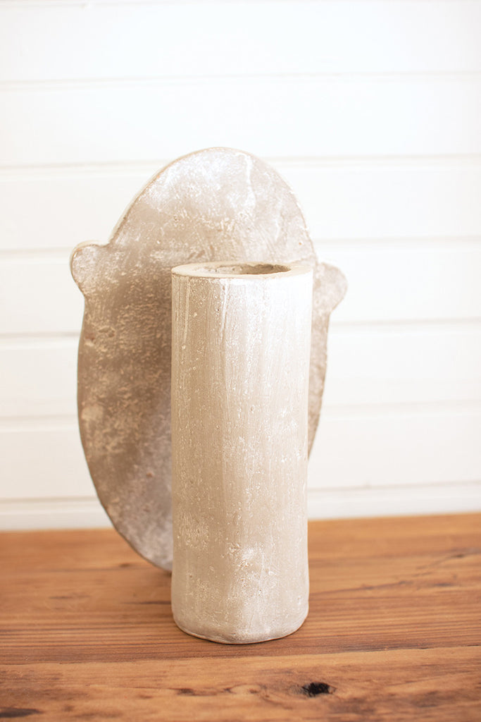 Modern Sand Color Vase With Dried Palm Shipping from Colonial House of Flowers in Atlanta