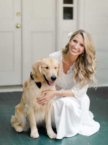 Luxury World Wide Floral Design by Colonial House of Flowers, Atlanta Georgia Florist | Bride with GArdenina in hair and dog