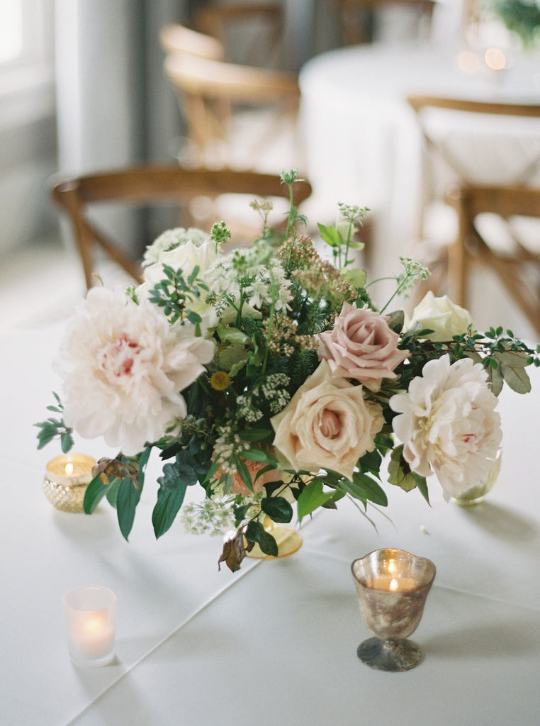 luxury garden flowers by Atlanta florist colonial house of flowers peonies garden roses olive branches centerpiece
