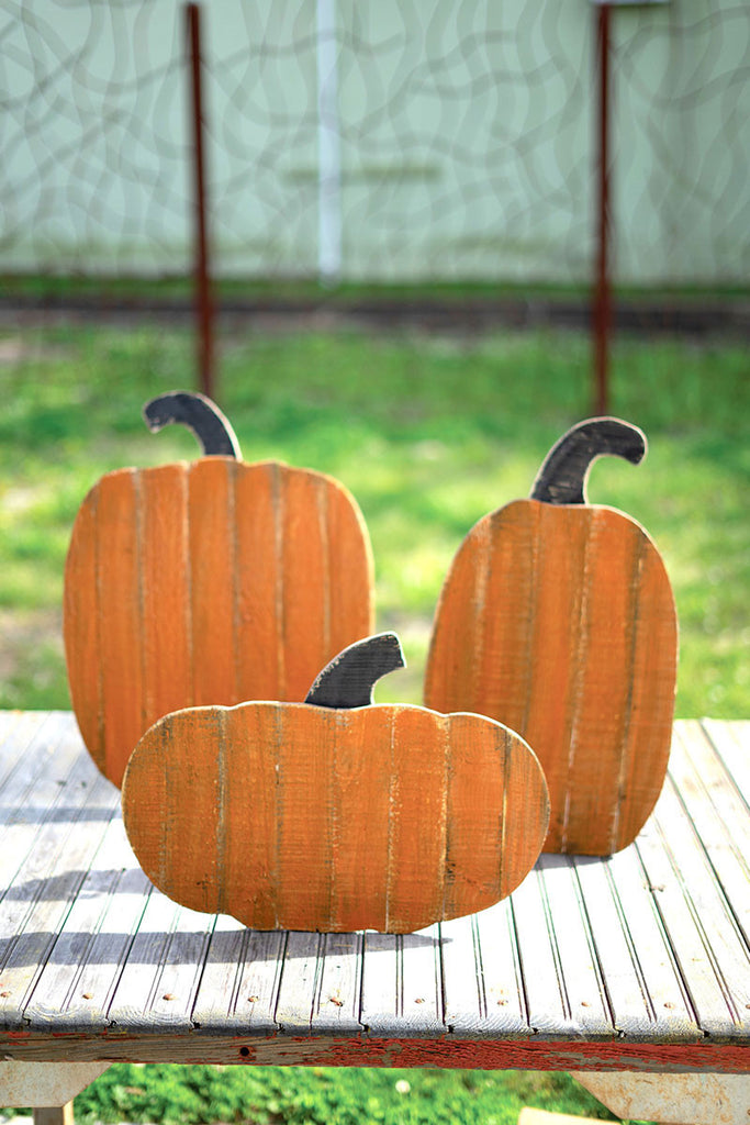 Orange Pumpkin Wood Cut Outs for Home Decor during the fall autumn halloween season by Colonial House of Flowers