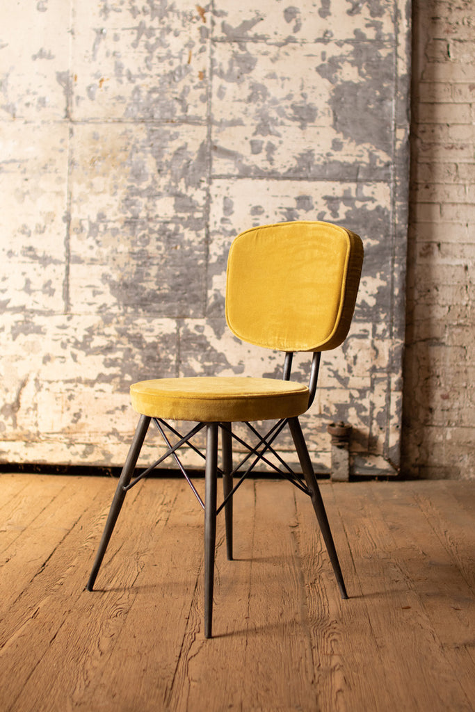 yellow velvet dining chair with iron frame for home and dining room table