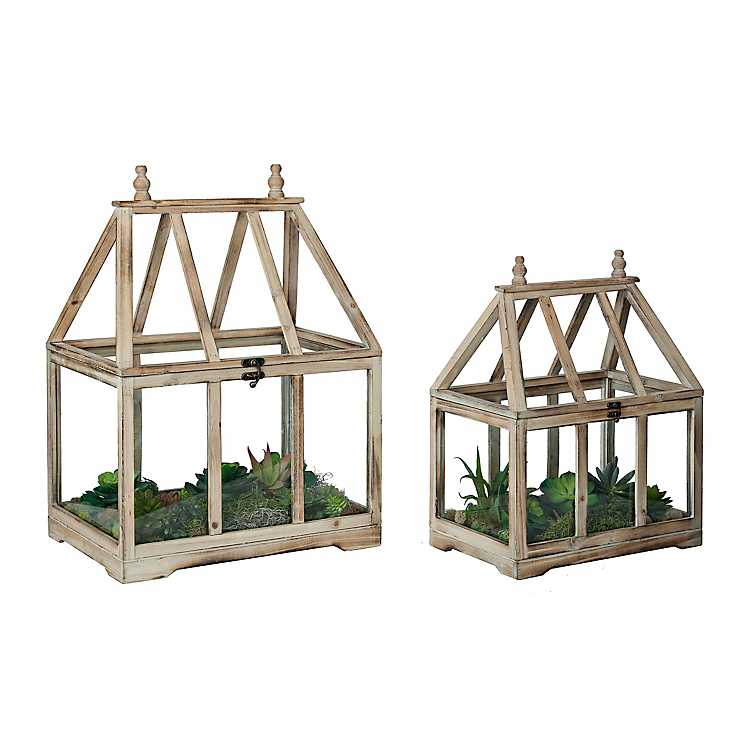 Wood and Glass Greenhouse Terrariums Home Decor by Colonial House of Flowers in Atlanta, Georgia