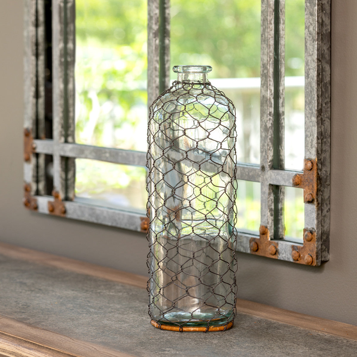 Clear Glass Containers With Chicken Wire - Colonial House of Flowers | bespoke floral design + online shop | Atlanta, Georgia