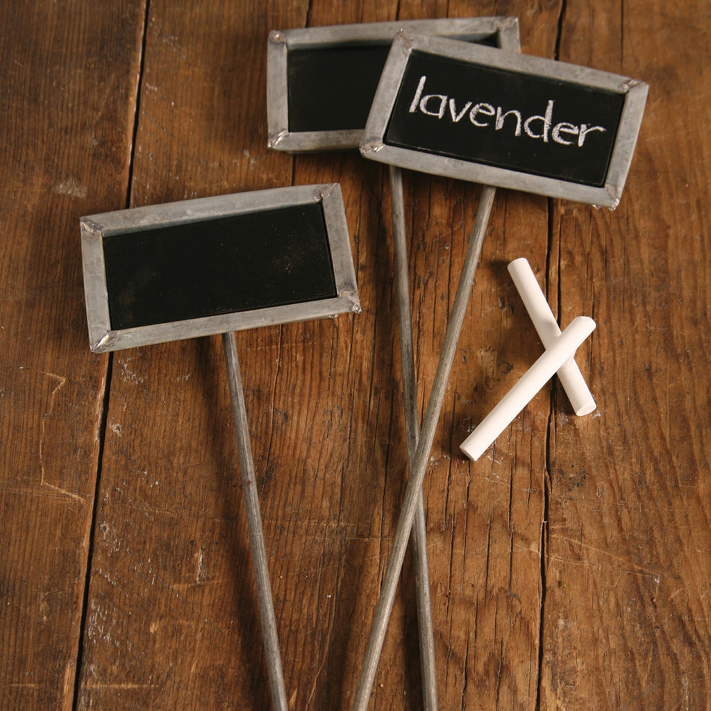 Chalkboard Garden Stakes - Galvanized Tin, Set of 6