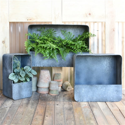 VINCA ANTIQUED GALVANIZED METAL WALL PLANTERS BY HOMART Colonial House of Flowers Atlanta Plants Vases Containers Florist Weddings Events Georgia Southern South