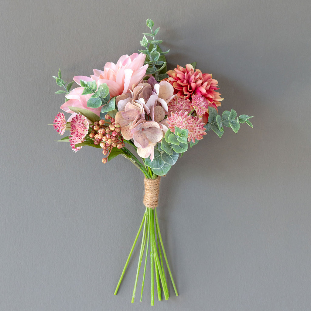 Faux Dahlia, Hydrangea, Berry And Eucalyptus Peach Pastel Pink Bouquet - Colonial House of Flowers | bespoke floral design + online shop | Atlanta, Georgia
