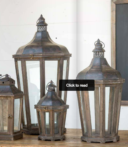 Wood & Galvanized Metal Lanterns by Park Hill Collection, Set of 3 Colonial House of Flowers Atlanta Plants Vases Containers Florist Weddings Events Georgia Southern South