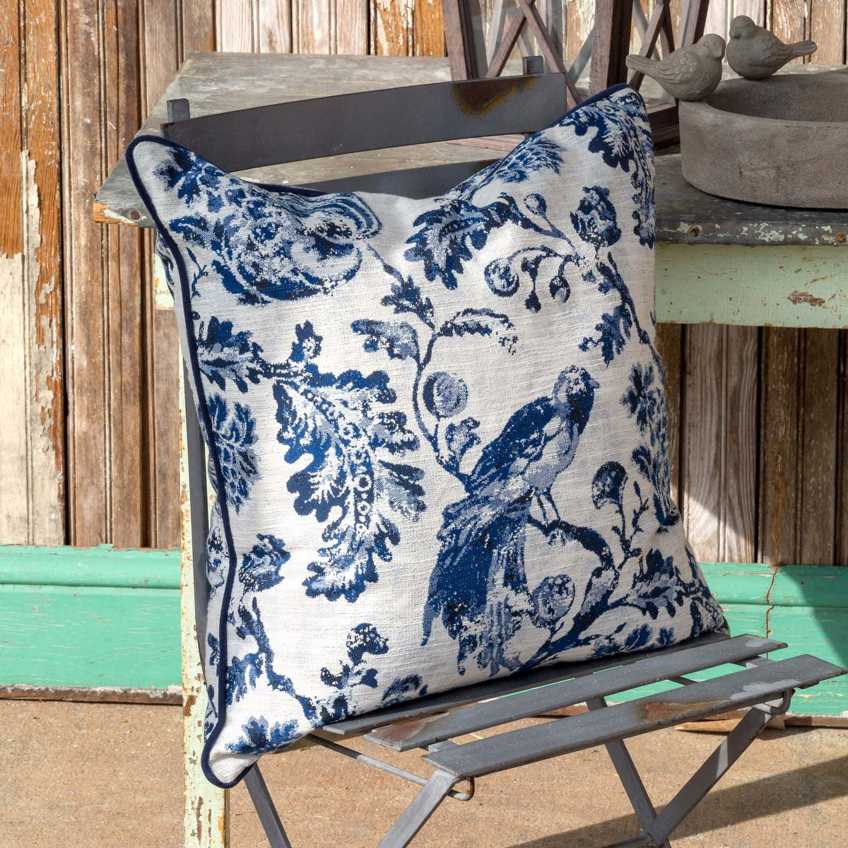 Blue Down Filled Bird Toile Pillow - Colonial House of Flowers | bespoke floral design + online shop | Atlanta, Georgia