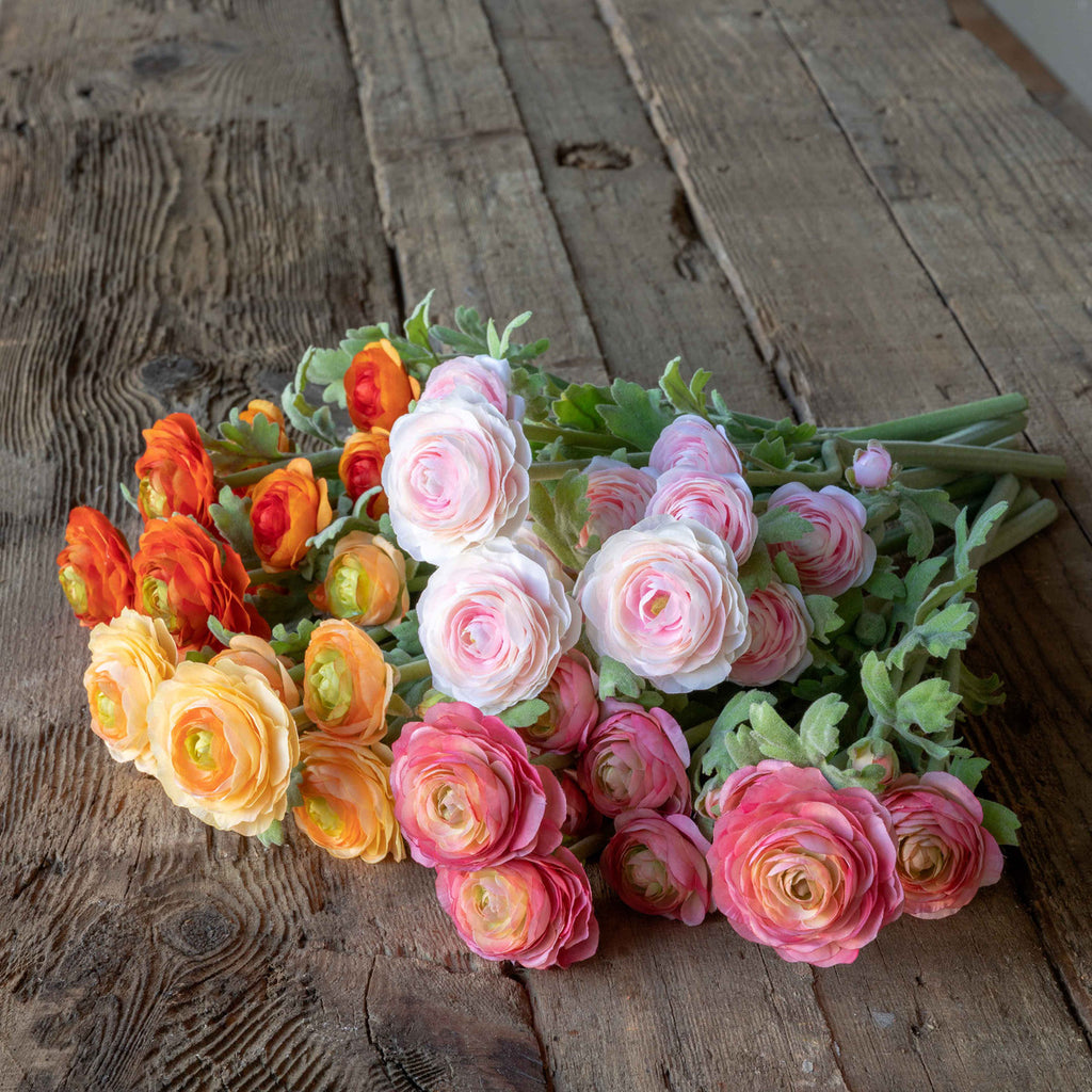 Faux Field Assorted Colors Gathered Ranunculus Bundle, Set of 12 in 4 Assorted Colors Colonial House of Flowers Atlanta Plants Vases Containers Florist Weddings Events Georgia Southern South