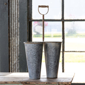 Tall Double Metal Gardener's Bucket Colonial House of Flowers Atlanta Plants Vases Containers Florist Weddings Events Georgia Southern South