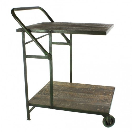 OJAI IRON GARDEN TROLLEY - ANTIQUE GREEN WITH DISTRESSED WOOD - Colonial House of Flowers | bespoke floral design + online shop | Atlanta, Georgia
