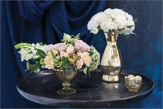 Carraway Gold Mercury Glass Stand Collection - Colonial House of Flowers | bespoke floral design + online shop | Atlanta, Georgia
