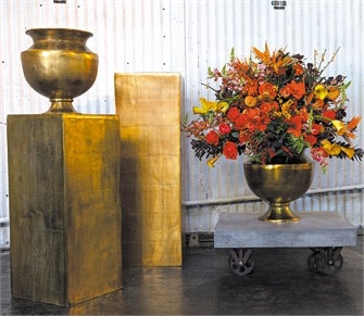 Agra Gold Metal Vase Colonial House of Flowers Atlanta Plants Vases Containers Florist Weddings Events Georgia Southern South
