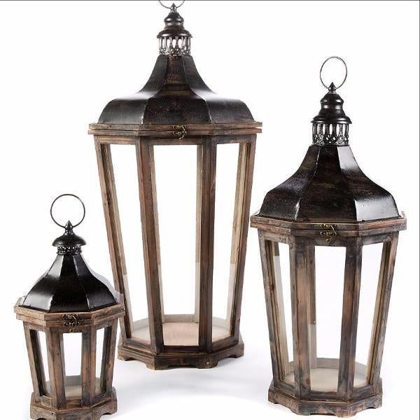 Wood & Dark Metal Hillcrest Lanterns from Park Hill Collection Shipping From Colonial House of Flowers in Atlanta, Georgia