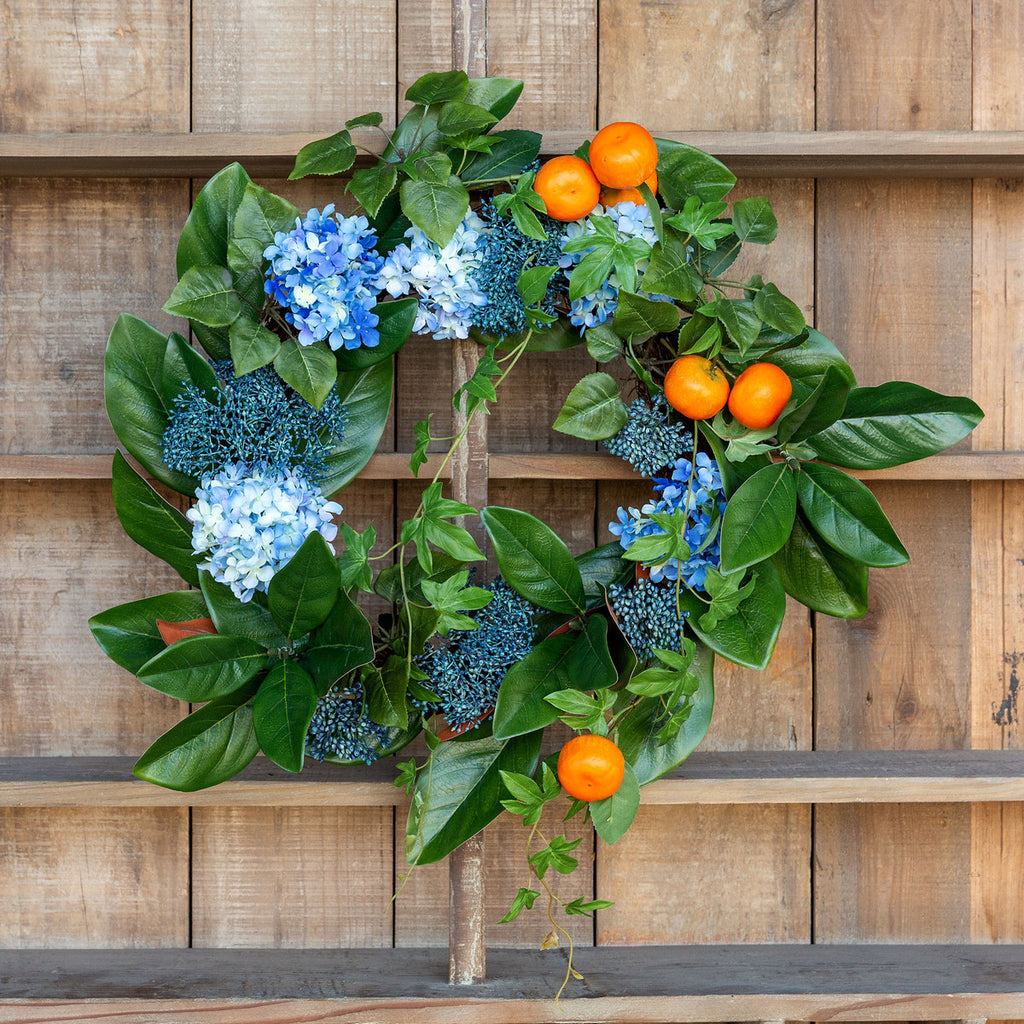 Summer Citrus & Hydrangea Wreath - Colonial House of Flowers | bespoke floral design + online shop | Atlanta, Georgia