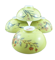ACJ863 Four Season Floral Yellow Cup Set of 4