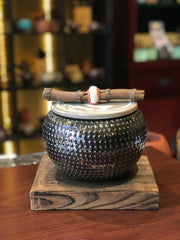 Ceramic Tea Canister (Caddy) with wooden coaster