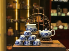 Jingdezhen Hand Painted Into Qing Hua Teaset 9 pieces