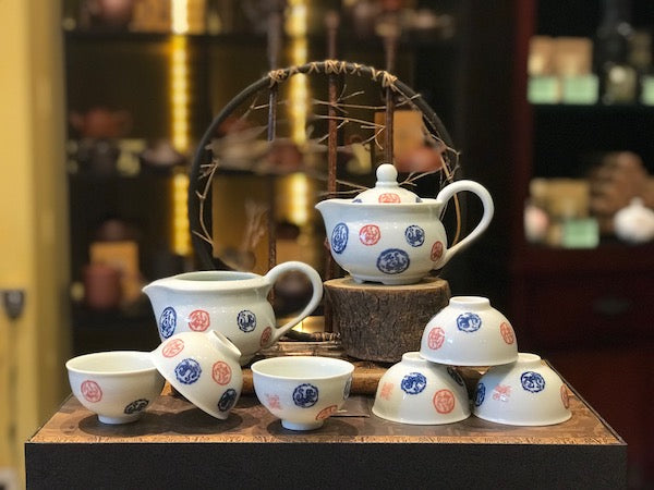Jingdezhen hand painted porcelain Tea Set 9 Pieces