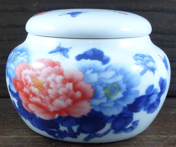 Red Peony Porcelain Tea Canister
