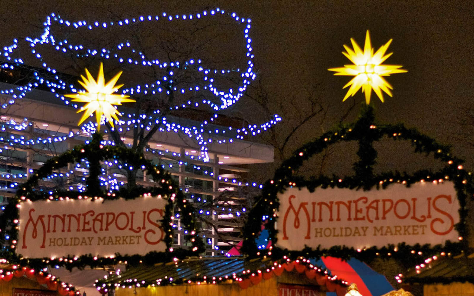 donation of more than 50 herrnhut christmas stars to the holiday market in minneapolis