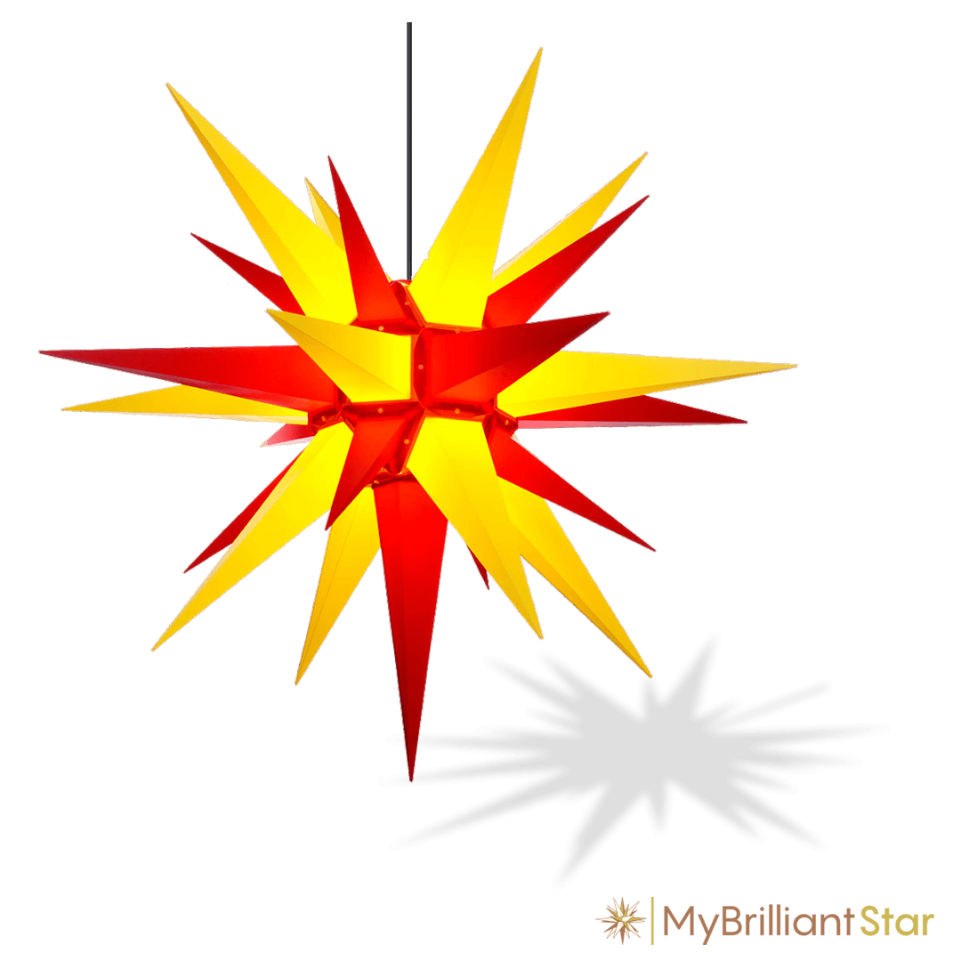 Original Herrnhut plastic star, yellow / red, ~ 130 cm / 51 inch ø