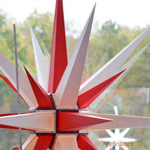 Original Herrnhut plastic star, white / red, ~ 130 cm / 51 inch ø
