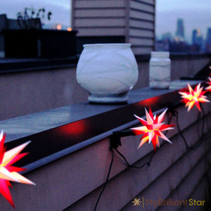 Original Herrnhut plastic star chain, white / red, ~ 12 m / 470 inch length