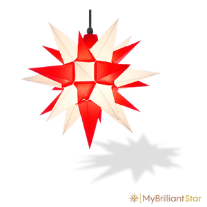 Original Herrnhut plastic star, white / red, ~ 40 cm / 16 inch ø