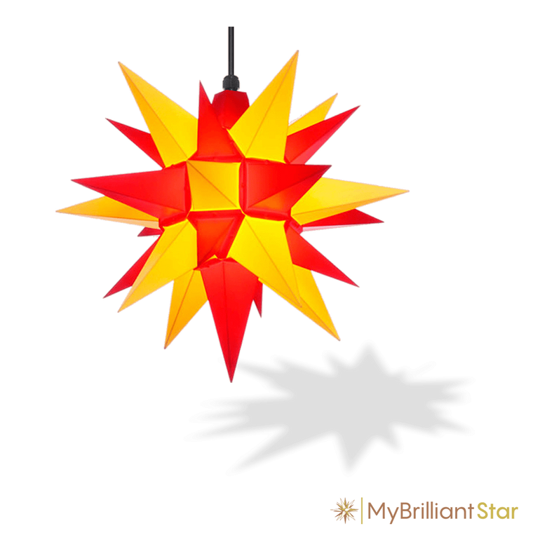 Original Herrnhut plastic star, yellow / red, ~ 40 cm / 16 inch ø