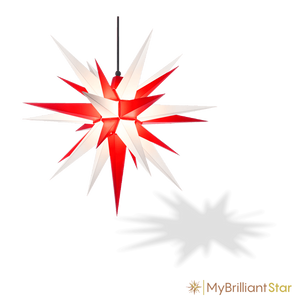 Original Herrnhut plastic star, white / red, ~ 70 cm / 27 inch ø