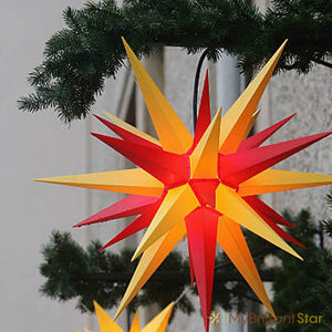 Original Herrnhut plastic star, yellow / red, ~ 70 cm / 27 inch ø