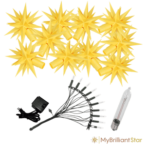 Original Herrnhut plastic star chain, yellow, ~ 12 m / 470 inch length