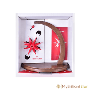 Starbow walnut stained - A1e plastic star ~ 13 cm / 5 inch ø - WHITE/RED