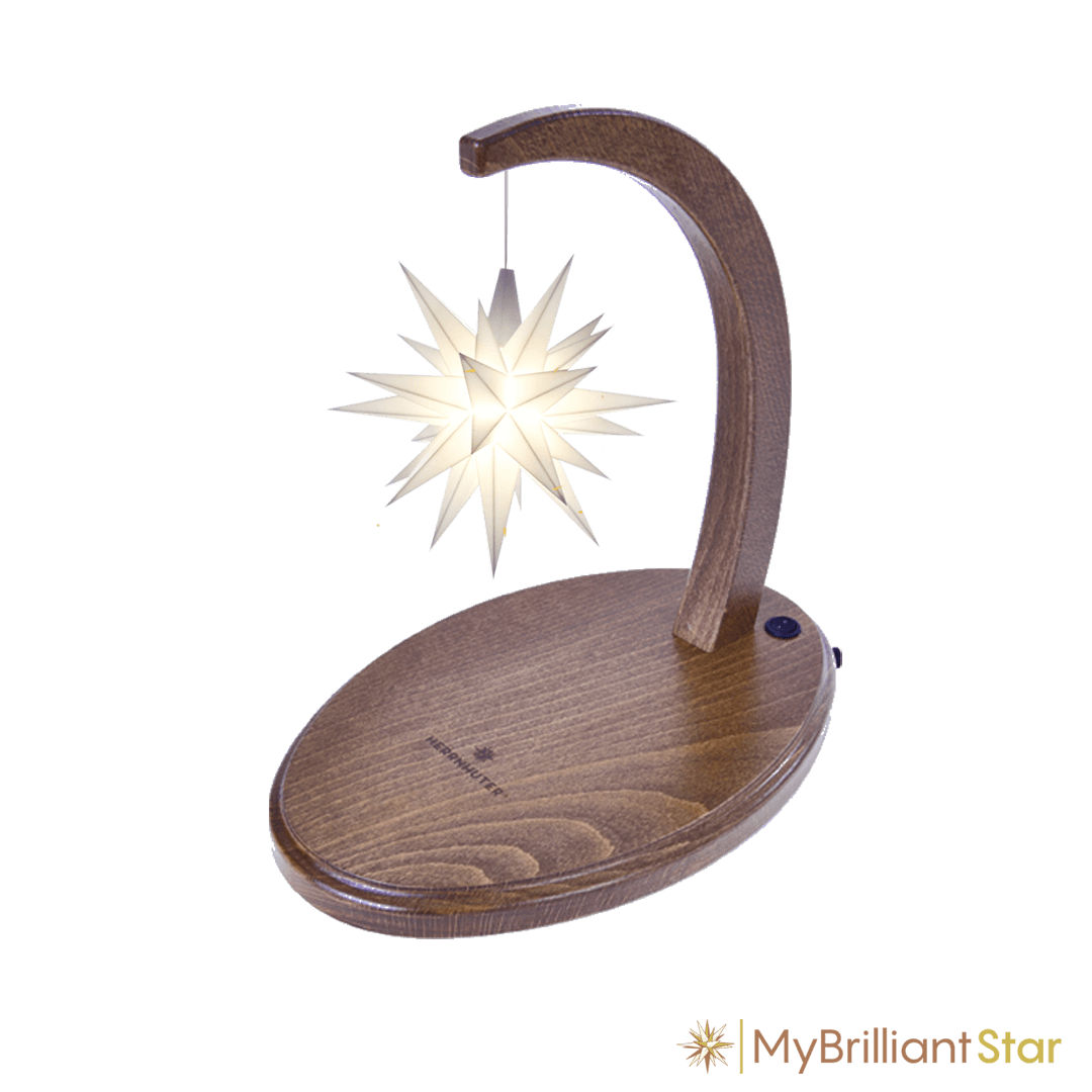 Starbow walnut stained - A1e plastic star ~ 13 cm / 5 inch ø - WHITE