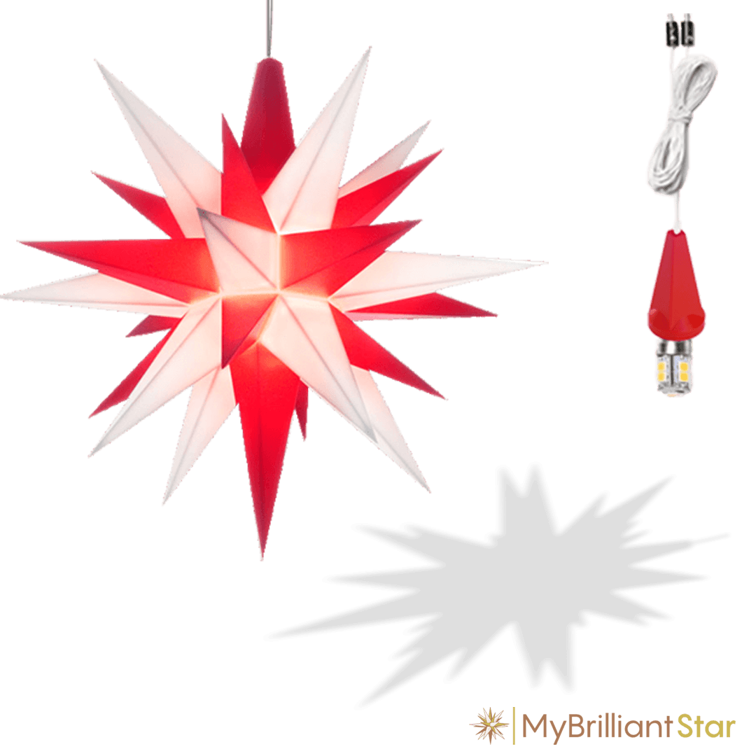 Original Herrnhut plastic star, white / red, ~ 13 cm / 5 inch ø