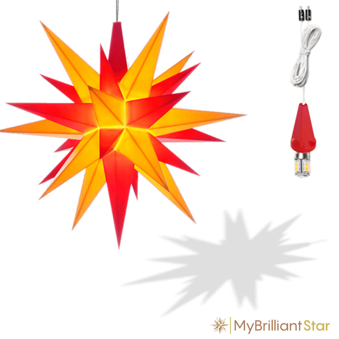 Original Herrnhut plastic star, yellow / red, ~ 13 cm / 5 inch ø